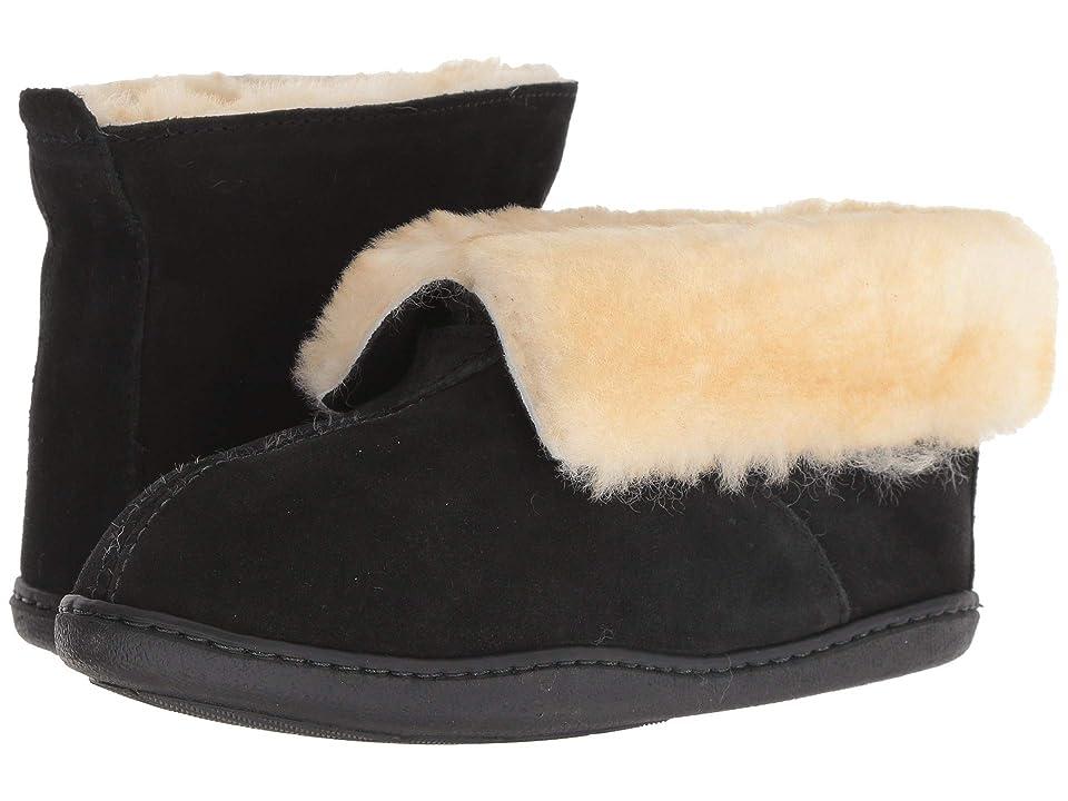 Minnetonka Sheepskin Ankle Boot (Black Suede) Women