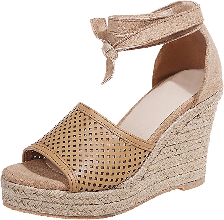 Padaleks Max OFFicial shop 88% OFF Women's Espadrille Platforms Sandals Lace Summer Wedges