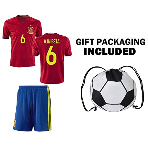 9c52d8499a2 Fan Kitbag Spain Iniesta #6 Youth Home/Away Soccer Jersey & Shorts Kids  Premium