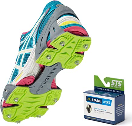 STABILicers Run, Made in USA, Snow and Ice Traction Cleats for Running Shoes, 25 Replacement Cleats Included, Gray/Green, Size LG