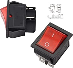 Magic&shell 2-Pack Rocker Power Switch 16A 250V AC 4 Pin 2 Position ON/OFF Power Switch DPST Red Button with Light