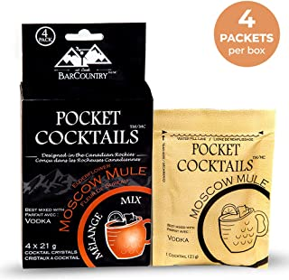 BarCountry Moscow Mule Alcoholic Drink Mixes – All Natural, Low Carb Powdered Cocktail Mix for Camping and Travel (4 Packe...