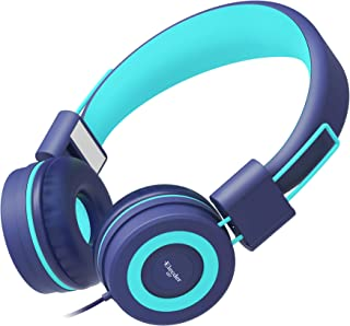 Elecder i37 Kids Headphones for Children Girls Boys Teens Foldable Adjustable On Ear Headphones with 3.5mm Jack for iPad Cellphones Computer MP3/4 Kindle Airplane School turquoise i37