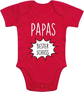 Shirt-Panda Baby Body  Papas Bester Schuss  Baby Body für Mädchen und Jungen  100% Baumwolle  Babybody mit Spruch  Fun Strampler  Babysuit mit Motiv
