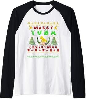 Santa Tuba Ugly Christmas Sweater Gifts Raglan Baseball Tee