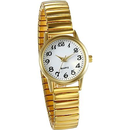 JewelryWe Reloj de Pulsera para Mujer Oro Dorado, Correa de Metal Retro Vintage Reloj Cuarzo Plano Pequeño, 2017 Buen Regalo para Dia de la Madre