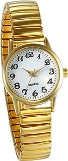 JewelryWe Reloj de Pulsera para Mujer Oro Dorado, Correa de Metal Retro Vintage Reloj Cuarzo Plano Pequeño, 2017 Buen Rega...
