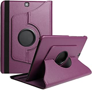 Samsung Tab A 9.7 Case,Flying Horse Lichee Pattern 360 Degrees Rotating Stand PU Leather Case for Samsung Galaxy Tab A 9.7 SM-T550 / T551 Auto Sleep/Wake Tablet (Purple)