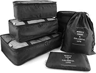 HDWISS 6 Set Cube Packing Bags for Travel Luggage Packing Organizers - Black
