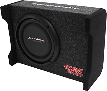 "$89 Get Audiobahn TQ10DF 10"" 1200W Car / Truck Shallow Mount Down Firing Slim Loaded Box Thin Flat Enclosed Subwoofer Bass 5/8"" MDF Air-Tight Sealed Enclosure"