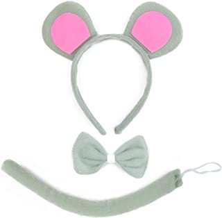 Skeleteen Mouse Costume Accessory Set - Grey and Pink Ears Headband, Bow Tie and Tail Accessories Set for Rat Costume for ...