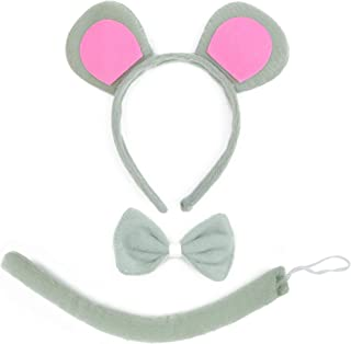 Mouse Costume Accessory Set - Grey and Pink Ears Headband, Bow Tie and Tail Accessories Set for Rat Costume for Toddlers and Kids