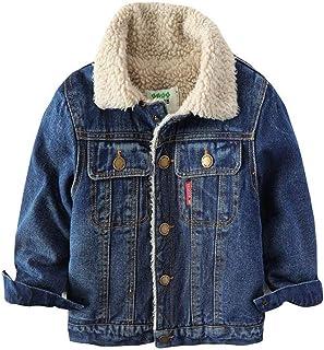[ふーふうん] 子供服 デニムジャケット ムートンコート ショット 男の子 ジージャン 折り襟 もこもこ 無地 暖かい 女の子 通学 通園 アウター かわいい