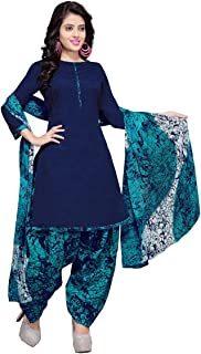 Rajnandini Blue Printed Cotton Patiyala Style Ready to Wear Salwar Suit for Women