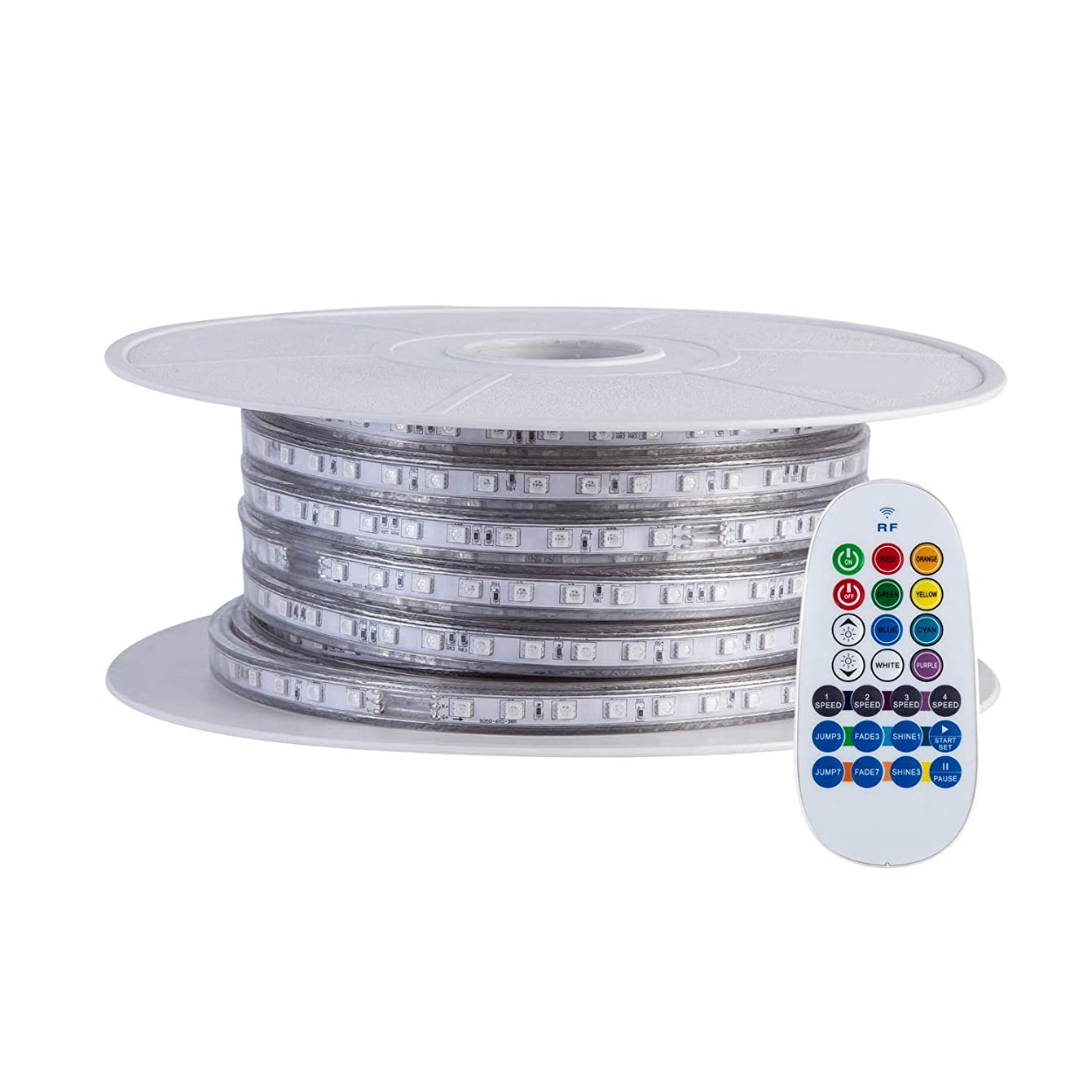 GuoTonG 65.6ft/20m Dimmable Strip Lights, Flexible RGB 1200 LEDs, 110V, 4 Wires, Waterproof, Connectable, Power Plug Built-in Fuse Design, Radio Frequency Controller