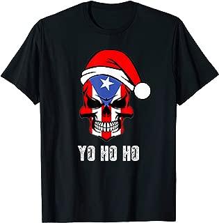 Christmas Pirate Puerto Rican Flag Skull Santa Hat Design T-Shirt