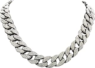 Charles Raymond Men's Iced Out Hip-Hop Silver Tone Bling Bling Rappers Cuban Link Chain Choker Necklace