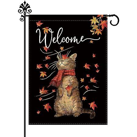 Fall Garden Flag Cat Maple leaf Autumn Outdoor Seasonal Yard Decorations Burlap Vertical Double Sided 12.5 x 18 Inch