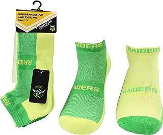 NRL Men's High Performance Sport Ankle Socks, Canberra Raiders, 2pk