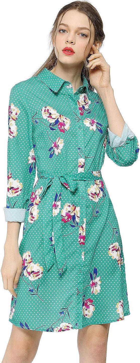 Allegra K Women's Button Down Vintage Polka Dots Dresses Collar