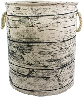 Mziart Unique Tree Stump Large Laundry Basket Bag with Rope Handles, Collapsible Wood..