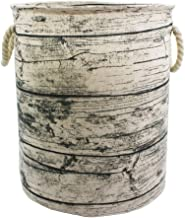 Mziart Unique Tree Stump Large Laundry Basket Bag with Rope Handles, Collapsible Wood Grain Waterproof Laundry Hamper Styl...