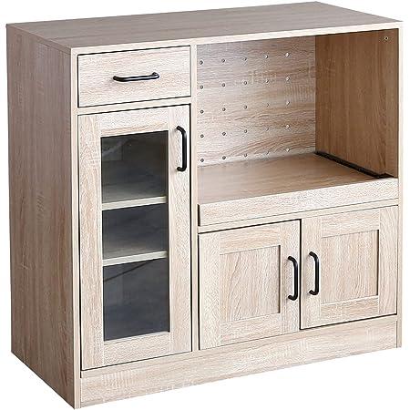 家具350 レンジ台 食器棚 キッチン収納 キッチンキャビネット 80cm幅 90cm幅 ナチュラル 128013