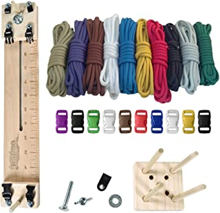 """PARACORD PLANET 550 lb Type III Paracord Combo Crafting Kit with a 10"""" Pocket Pro Jig – Additional Monkey Fist Jig Option"""