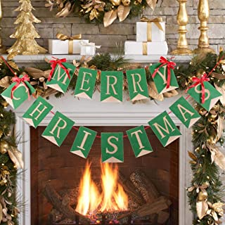 Merry Christmas Banner Burlap Christmas Banner Garlands for Christmas Decorations Home Decor Xmas Party Photo Props TD038