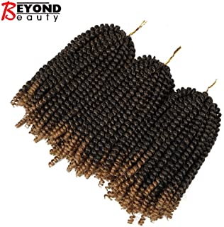 3 Pack Spring Twist Ombre Colors Crochet Braids Synthetic Braiding Hair Extensions Low Temperature Fiber (T1B27)