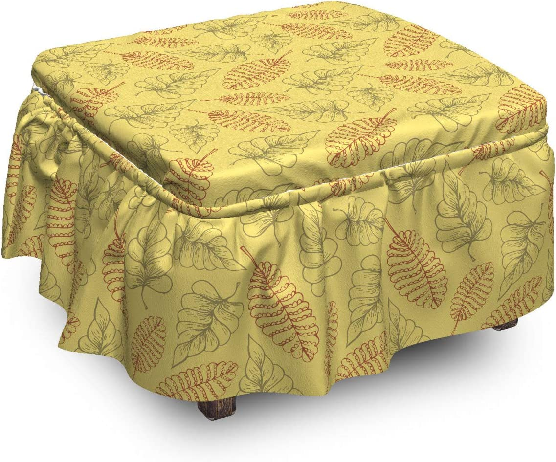 Ambesonne Leaves Ottoman Cover Various 2 Super beauty product restock Selling and selling quality top Pi Botanical Elements