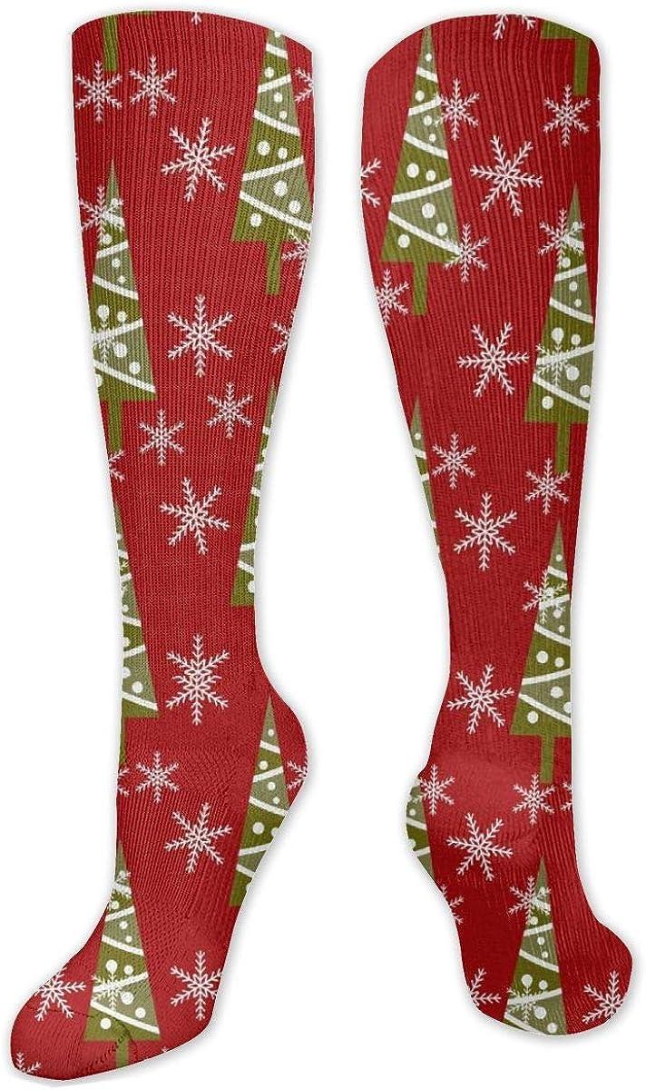 Christmas Tree Snowflake Knee High Socks Leg Warmer Dresses Long Boot Stockings For Womens Cosplay Daily Wear