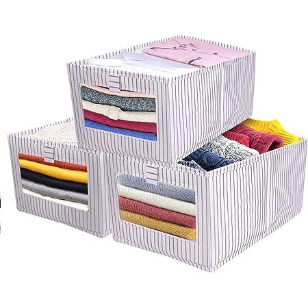 Set de 3 Boîte de Rangement, Caisses de Rangement, Boîte Range pour Vêtement, Jouets, Magazine pour Maison, Bureau, Crèche, Placard, Chambre à Coucher