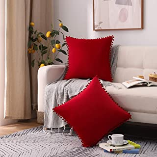 Andreannie Pack of 2 Sot Velvet with Ball Cozy Solid Decorative Throw Pillow Covers Cushion Case for Sofa Outdoor Living R...
