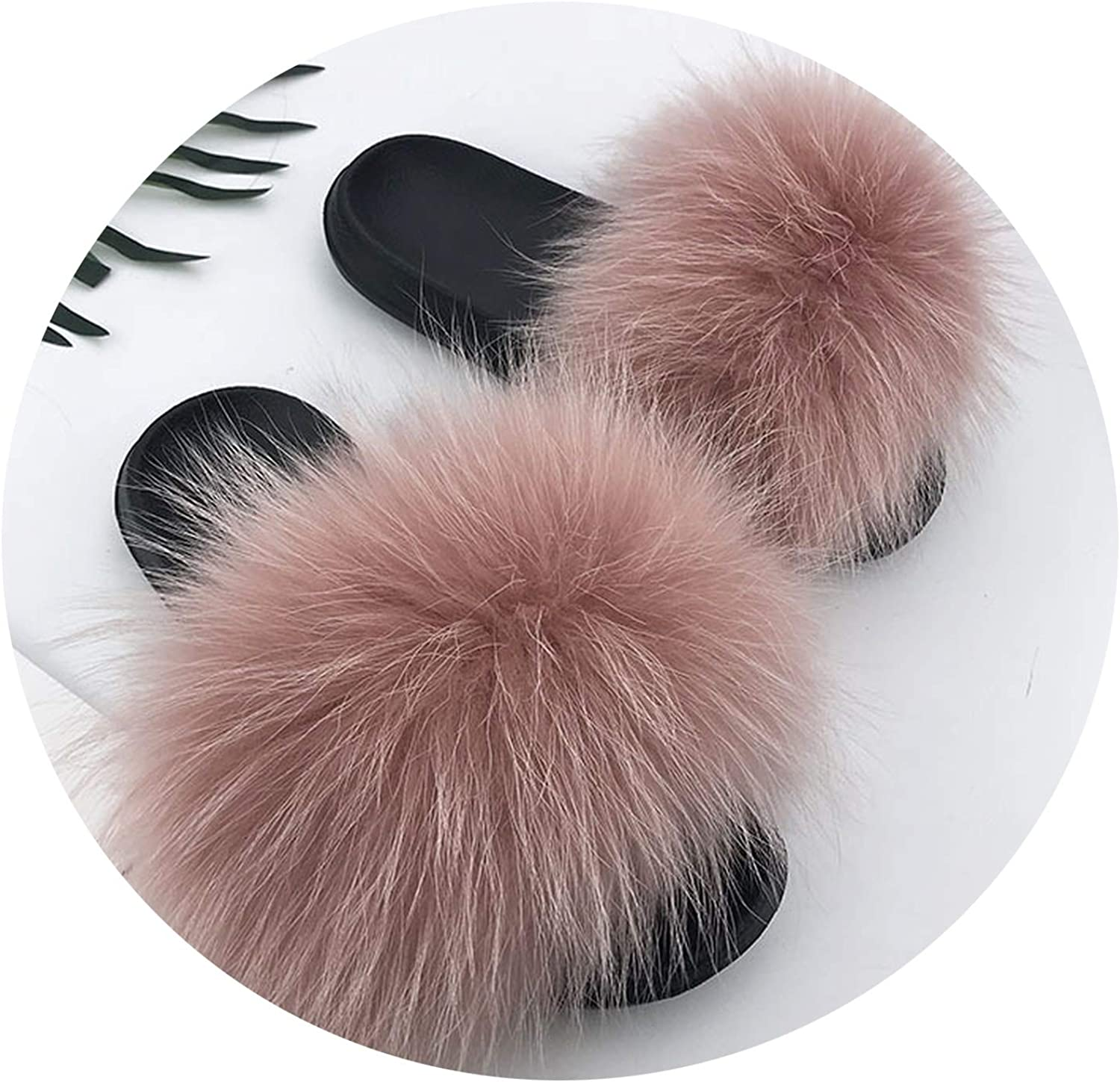 Just XiaoZhouZhou 28 colors Real Fur Slippers Women Fox Fluffy Sliders Comfort with Feathers Furry Summer Flats Sweet Ladies shoes Plus Size 36-45,20,6.5