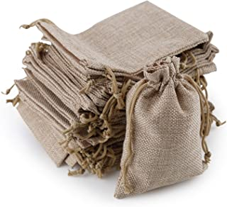 AHUA 50Pcs Linen Burlap Gift Candy Favor Bag with Drawstring Jewelry Pouch for Wedding Party and DIY Craft Reusable Coffee Herbs Tea Spice Bean Sachets Home Food Storage Bags