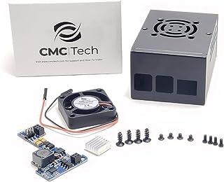 CMC TECH Raspberry Pi Deep Case PoE 5.2V@3.5A HAT Metal Enclosure Protective Box Cooling Fan 17.5Watt Power Over Ethernet ...
