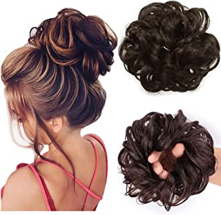 Messy Bun Hair Piece Hair Scrunchies Extension Curly Wavy Messy Synthetic Chignon for Women Updo Hairpiece(Natural Black i...