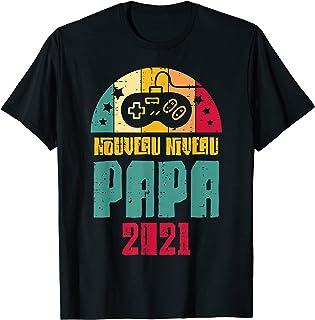 Homme Nouveau Niveau Papa 2021 Père Annonce Grossesse Gamer Cadeau T-Shirt