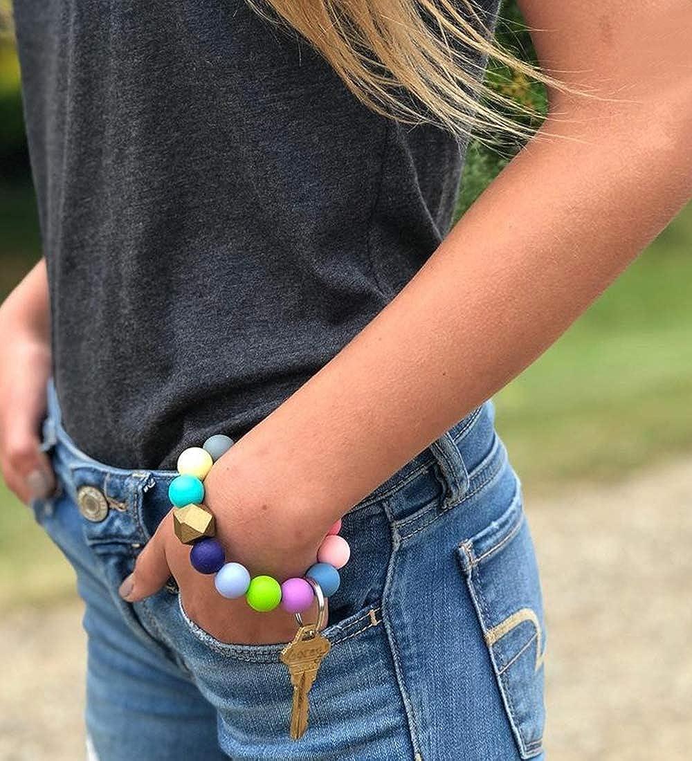 Silicone Key Ring Bracelet Beaded Wrislet Keychain Portable House Car Keys Ring Holder