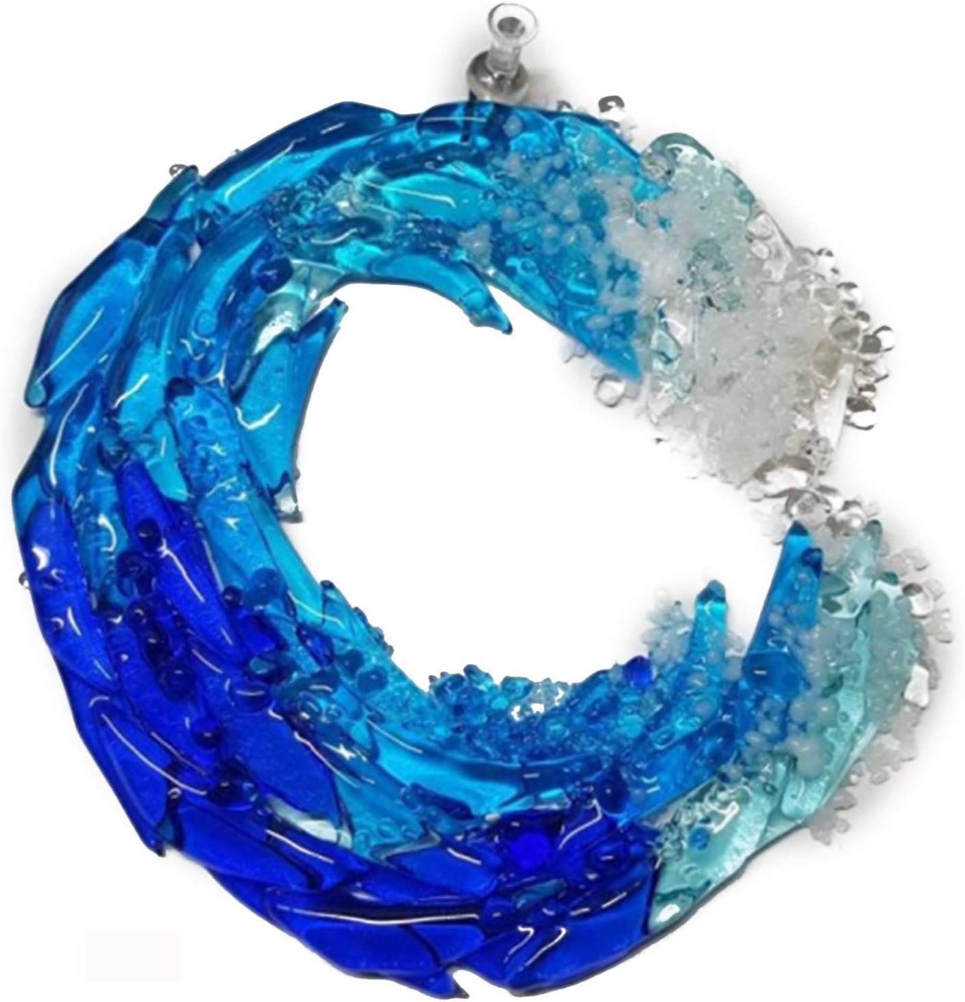 Blair Molten Glass Decor 5//8inch Ocean Suncatcher Ornament Glass Wave Sun Catcher Wall Hanging Gift for Home Office Car