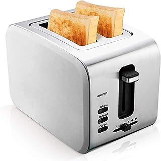 UBEGOOD Grille-pain, Acier Inoxydable Toaster 2 Fentes Larges Grille Pain avec Controle de 6 Temperature et Plateau de Mie...