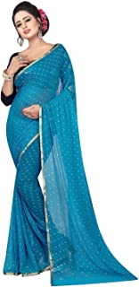 Womens Bollywood Designer Party Wear Chiffon Saree with Blouse Piece