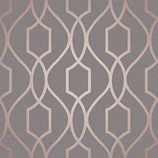 Fine Decor Wallcoverings FD41998 UK Apex Trellis Sidewall Wallpaper, Copper/Charcoal