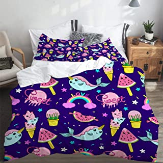 LONSANT Duvet Cover Set King Size Abstract Seamless ice Cream Pattern Girls Light Weight Bedding Set 1 Duvet Cover with 2 Pillowcases
