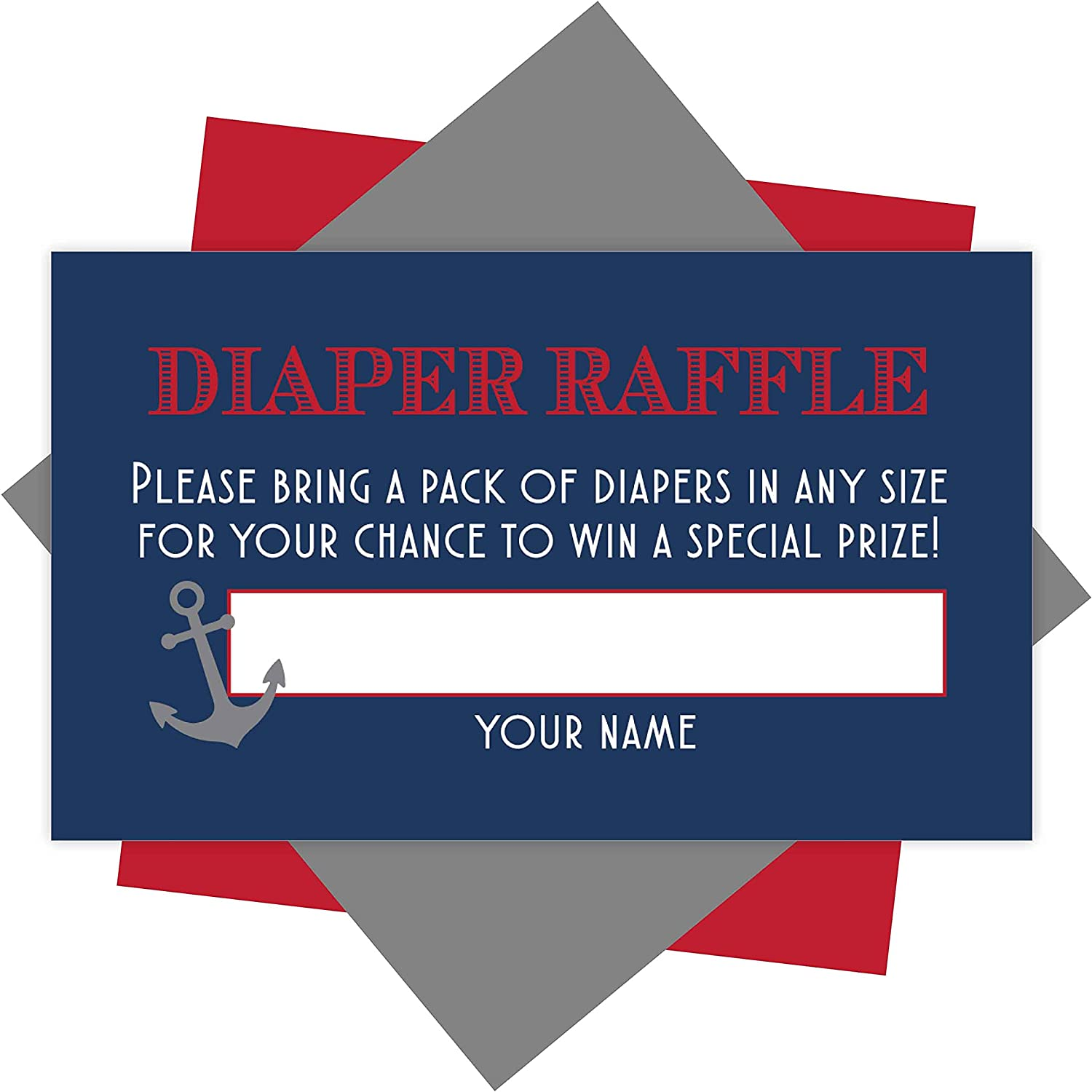25 Baby Shower Diaper Raffle Tickets For Baby Shower Boy - Nautical Baby Shower Games For Boys, Diaper Raffle Cards, Baby Raffle Tickets, Baby Shower Invitation Inserts, Baby Shower Ideas
