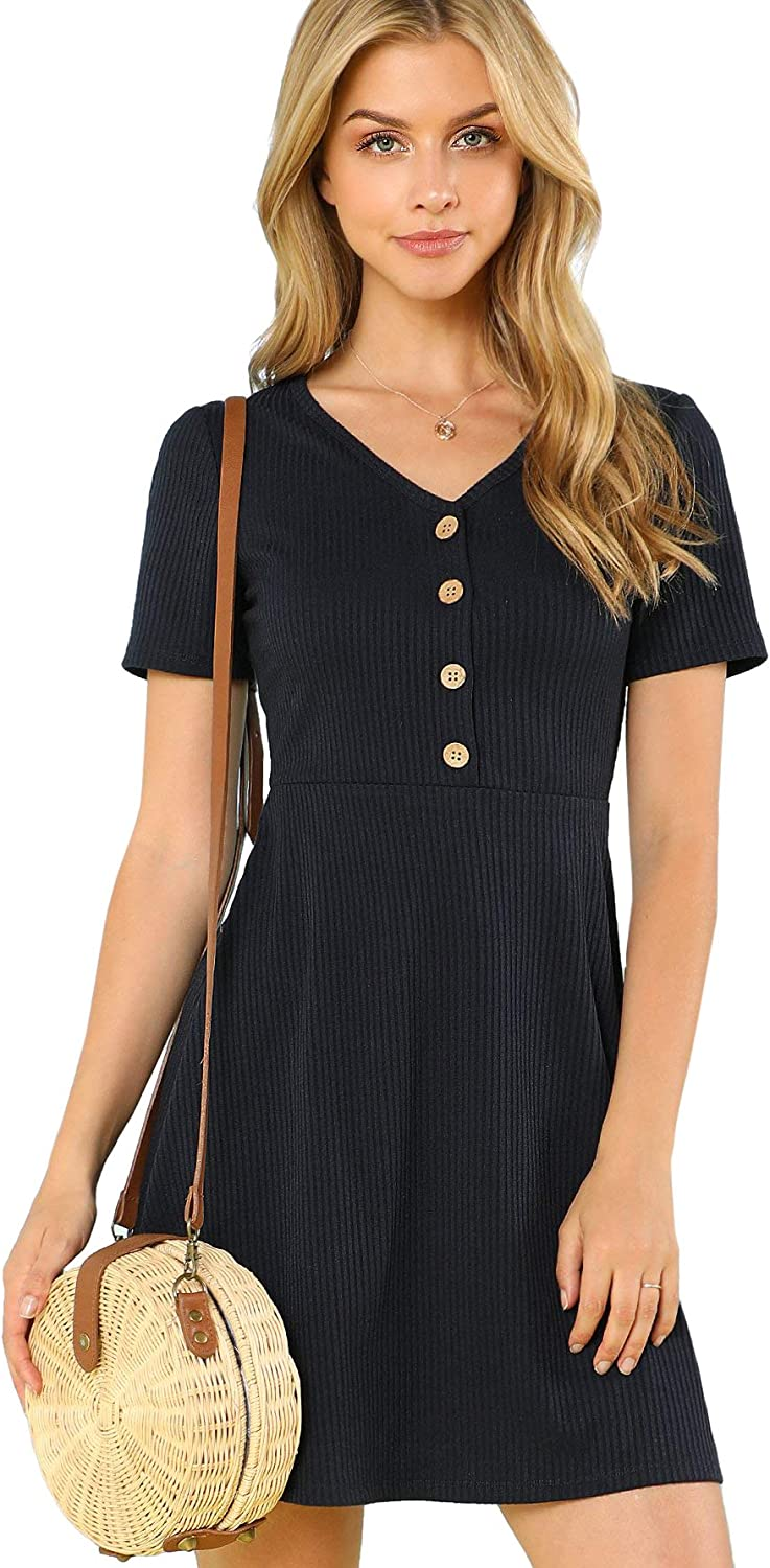Milumia Women's Button Up Ribbed Max 53% OFF Knit Ranking TOP14 Dress Short Sleeve Neck V