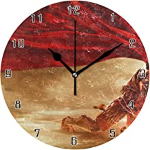 Lie fairy tale Journey to The West Monkey King World Round Wall Clock Home Decor Clock Battery Operated Silent Non -Ticking Desk Clock for Home,Office,School (10 Inch)