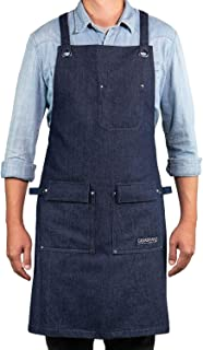 Professional Chef Kitchen Apron with Double Towel Loop – 10 oz Cotton for Cooking, BBQ and Grill – Men Women Design with 3 Pockets, Quick Release Buckle and Adjustable Strap M to XXL (Blue Denim)