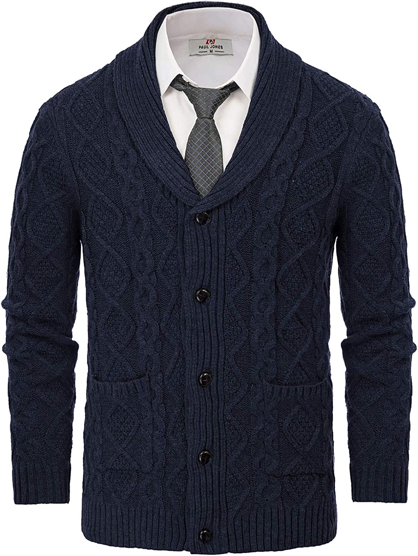 PJ PAUL Superlatite JONES Men's Shawl Knitted store Cardigan Cable Collar Sweaters